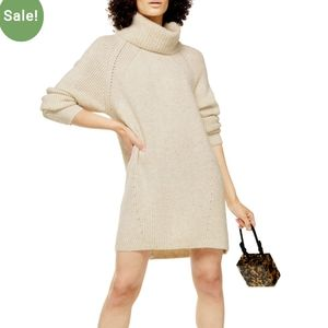 Topshop oatmeal ribbed turtleneck sweater cream m
